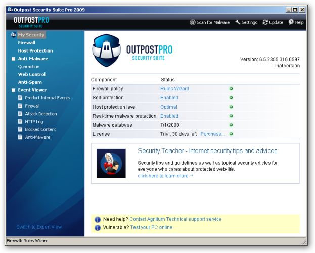 Outpost Security Suite Pro 2009 64bit version